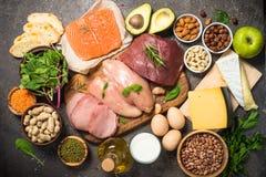 Proteinkällor - kött, fisk, ost, muttrar, bönor och gräsplaner arkivfoto