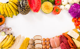 Proteins, Carbohydrates and fruits. Group of proteins, carbohydrates and fruits more important to your daily diet, Shoot is made from above and concentrated Royalty Free Stock Images
