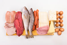 Proteins. Group of important proteins, meats, fish, dairy, eggs, white meat on a white background, Shot from above Royalty Free Stock Photography