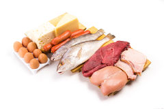 Proteins. Group of important proteins, meats, fish, dairy, eggs, white meat on a white background, Shot from above Royalty Free Stock Image