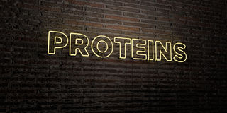 PROTEINS -Realistic Neon Sign on Brick Wall background - 3D rendered royalty free stock image. Can be used for online banner ads and direct mailers Royalty Free Stock Photography