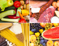 Proteins, vitamins, sugar and carbohydrates. Various food full of proteins, vitamins, sugar and carbohydrates stock images