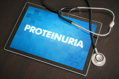 Proteinuria (heart disorder) diagnosis medical concept on tablet. Screen with stethoscope stock photography
