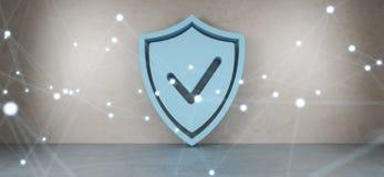 Proteja ícones no interior com rendição das conexões 3D Fotos de Stock Royalty Free