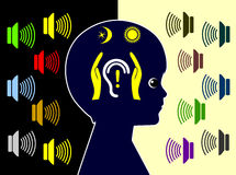 Proteja a los niños contra la contaminación acústica diaria Imagen de archivo libre de regalías