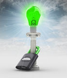 Proteja o conceito verde da ampola da energia no céu Foto de Stock Royalty Free