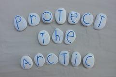 Proteja o slogan ártico, internacional para ajudar animais árticos adaptam-se a um clima em rápida mutação fotos de stock
