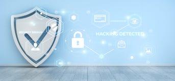 Proteja a relação da proteção ativada na rendição da casa 3D Imagem de Stock Royalty Free