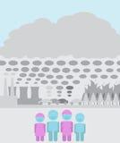 Proteja a su familia contra los agentes contaminadores de la contaminación atmosférica Imagen de archivo