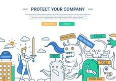Proteja su línea bandera plana de la compañía del diseño con el hombre de negocios del super héroe Foto de archivo libre de regalías