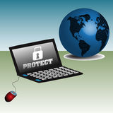 Proteja su ordenador Imagen de archivo libre de regalías