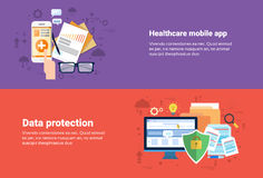 Proteção de dados, bandeira em linha da Web da medicina médica dos cuidados médicos da aplicação Fotografia de Stock