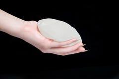 Protesi del seno del silicone della tenuta della mano Fotografia Stock