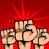 Protest. Abstract  illustration of three raised fists Stock Image