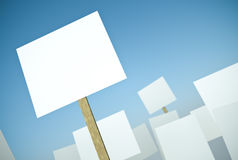 Protest. Blank protest banners against blue sky. 3D render royalty free illustration