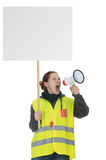 Protest. Ing demonstrator making an announcemant Royalty Free Stock Images