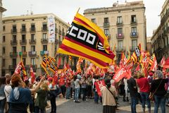 Protest action in Barcelona in support of secession from Spain stock image