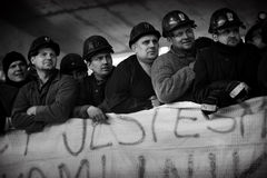 The Protest Action-of strike of Silesian miners. Omontowice, Poland - The Protest Action-of strike of Silesian miners and labor unionists at KWK Budryk against Royalty Free Stock Photos