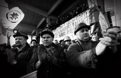 The Protest Action-of strike of Silesian miners Stock Photography