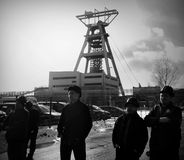 The Protest Action-of strike of Silesian miners. Omontowice, Poland - The Protest Action-of strike of Silesian miners and labor unionists at KWK Budryk against Royalty Free Stock Image