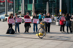 Protest activists Animal Protection Society of Berlin against the use of wild animals in the circus Stock Image