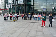 Protest activists Animal Protection Society of Berlin against the use of wild animals in the circus. BERLIN, GERMANY - APRIL 19, 2014: Protest activists Animal Royalty Free Stock Images