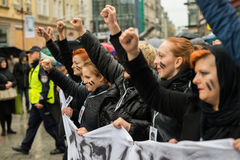Protest against anti-abortion law forced by Polish government PIS, black protest Royalty Free Stock Photos