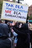 Protest against anti-abortion law in Poland, Gdansk. 2016-04-24, uStawka stock photography