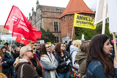 Protest against anti-abortion law in Poland, Gdansk, 2016.04.24, uStawka. Protest against anti-abortion law in Poland, Gdansk, 2016-04-24, uStawka stock photos