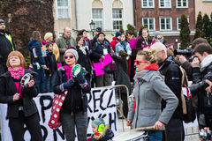 Protest against anti-abortion law in Poland, Gdansk, 2016.04.24, Stock Photography