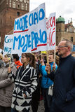 Protest against anti-abortion law in Poland, Gdansk, 2016.04.24, uStawka. Protest against anti-abortion law in Poland, Gdansk, 2016-04-24, uStawka stock photo