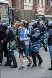 Protest against corruption. 12 June 2017. Russia. Moscow. Tverskaya st. Meeting organized by Alexei Navalny against corruption in  government. Heavy armored Stock Photo