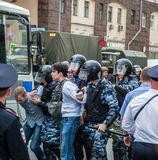 Protest against corruption. 12 June 2017. Russia. Moscow. Tverskaya st. Meeting organized by Alexei Navalny against corruption in  government. Heavy armored Stock Images