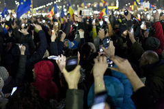 Protest against corruption reforms in Bucharest Stock Image
