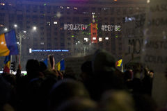 Protest against corruption reforms in Bucharest Stock Images