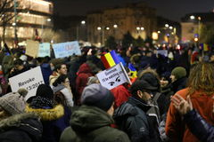 Protest against corruption and romanian government. In Bucharest, Romania - placards against the romanian government ignorance Stock Image