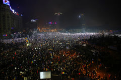 Protest against corruption and Romanian Government. Bucharest, Romania: Almost 300.000 Romanians demonstrated against government decree decriminalizing some Royalty Free Stock Photos