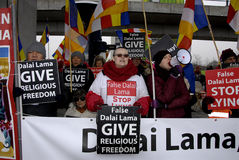 PROTEST AGAINST DALAI LAMA DENMARK. Copenhagen-Denamrk Third and last day protest against Dalai Lama visit to Denmark and    International Shugden community Royalty Free Stock Images