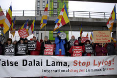 PROTEST AGAINST DALAI LAMA DENMARK Stock Image
