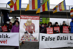 PROTEST AGAINST DALAI LAMA DENMARK Stock Photo