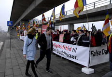 PROTEST AGAINST DALAI LAMA DENMARK. Copenhagen-Denamrk Third and last day protest against Dalai Lama visit to Denmark and    International Shugden community Royalty Free Stock Photo