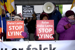 PROTEST AGAINST DALAI LAMA DENMARK Royalty Free Stock Photos