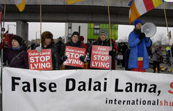 PROTEST AGAINST DALAI LAMA DENMARK. Copenhagen-Denamrk Third and last day protest against Dalai Lama visit to Denmark and    International Shugden community Royalty Free Stock Photos
