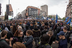 Protest against election of premier Aleksandar Vucic as president, Belgrade Royalty Free Stock Photo