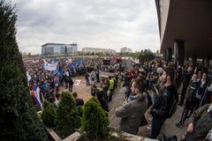 Protest against election of premier Aleksandar Vucic as president, Belgrade Royalty Free Stock Photos