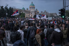 Protest against election of premier Aleksandar Vucic as president, Belgrade Royalty Free Stock Photography