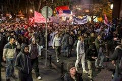 Protest against election of premier Aleksandar Vucic as president, Belgrade Royalty Free Stock Image