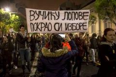 Protest against election of premier Aleksandar Vucic as president, Belgrade Stock Photo