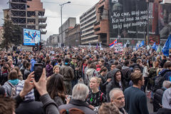 Protest against election of premier Aleksandar Vucic as president, Belgrade Royalty Free Stock Images