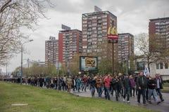 Protest against election of premier Aleksandar Vucic as president, Belgrade Stock Photos